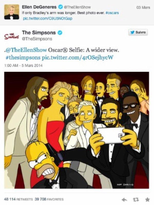 Le selfie des Oscars revisité par Les Simpsons
