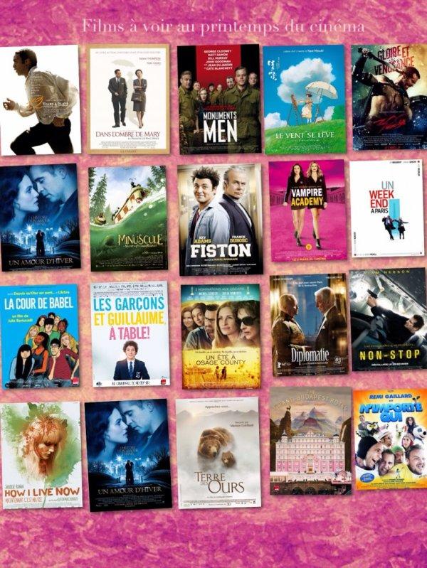 Films à voir pour le printemps du cinéma 2014