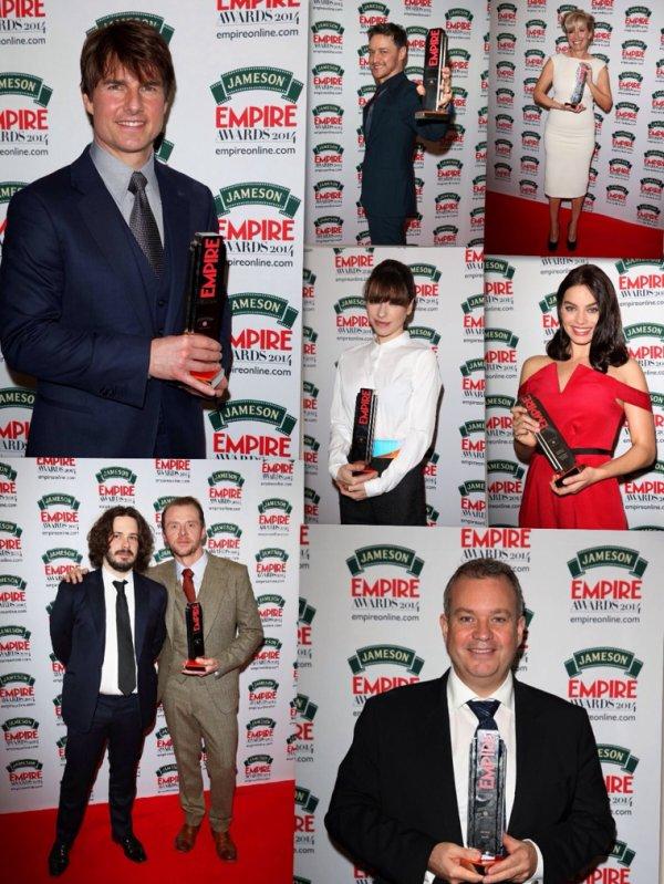 Palmarès complet des Jameson Empire Awards 2014