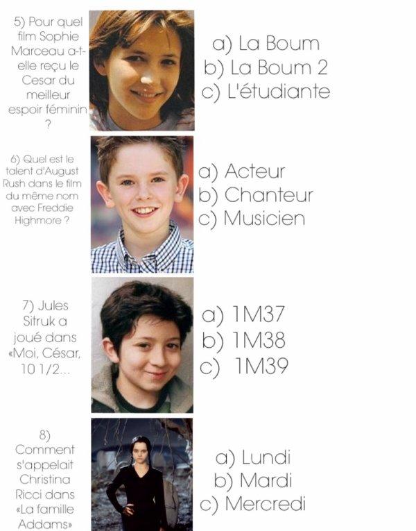 Cahier de vacances spécial cinema : Numéro 5, Enfants Stars