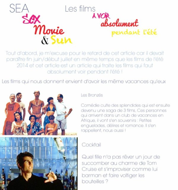 Sea, Sex, Movie & Sun : Les films à voir absolument pendant l'été