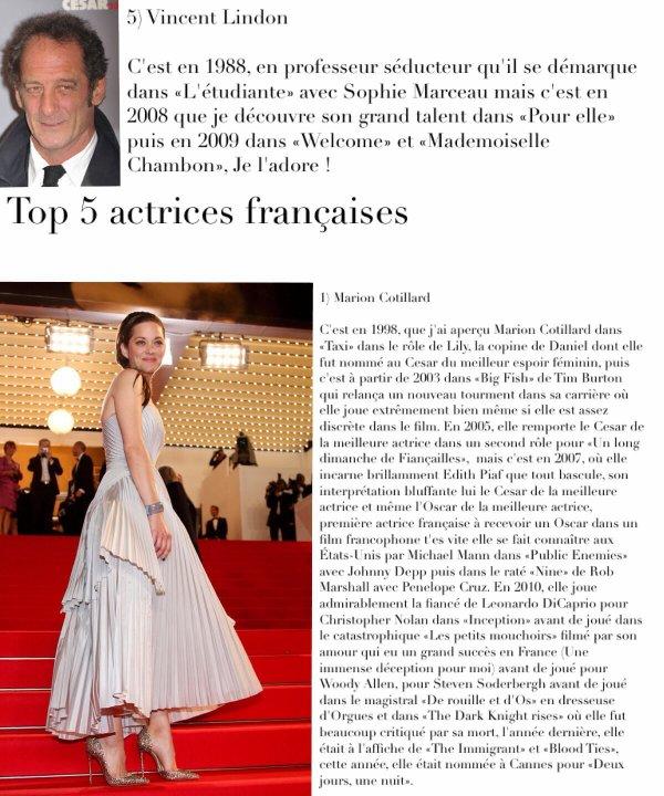 Tag cinema n°4 : Top 20 acteurs/actrices préférés