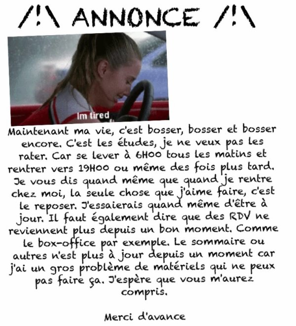 /!\ ANNONCE /!\
