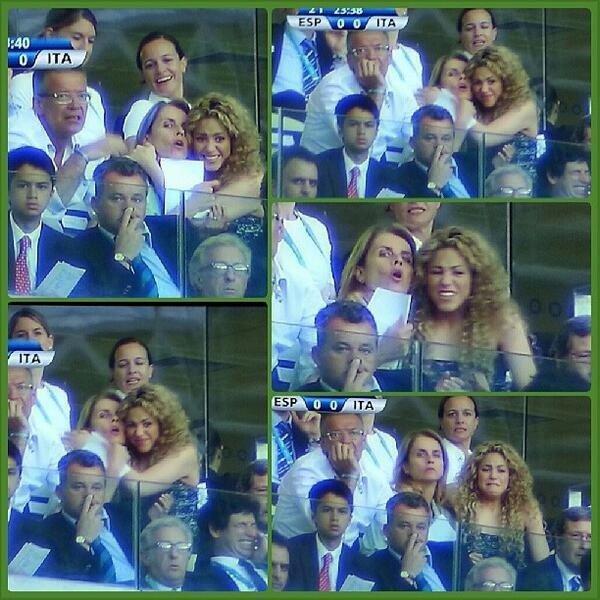 Shakira, Montserrat et John Piqé aux mach Espagne vs Italie