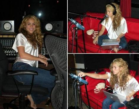 Shakira lors de l'engistrement de son nouvelle album