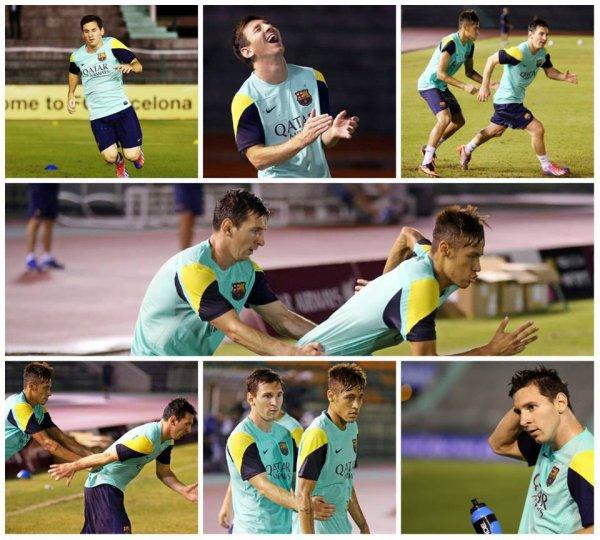 Lionel Messi et Neymar a l'entrainement