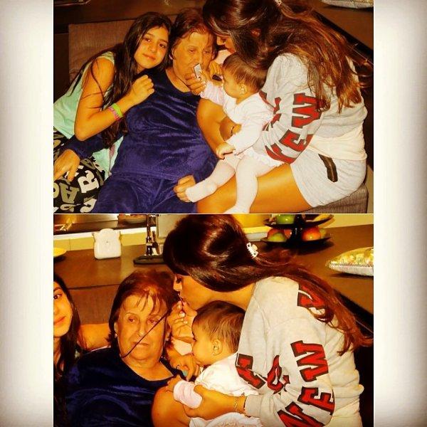 Daniella Semaan avec sa mére et ses filles Lia Fabregas et Maria Taktouk le 11 - 11