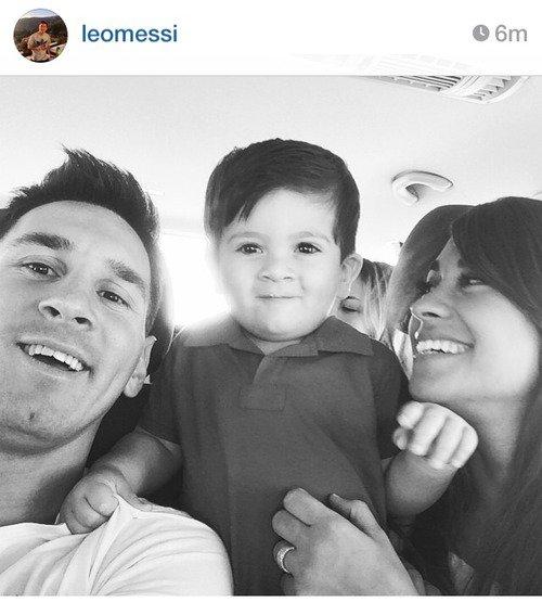 Antonella Roccuzzo, Leo Messi et Thiago Messi le 23 - 07