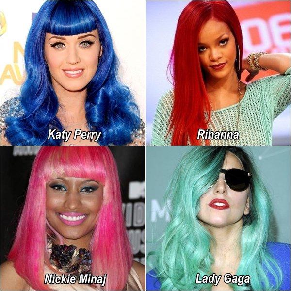 .  PEOPLESCRITIQUES ;  Ça fais quoi Katy Perry, Rihanna, Nickie Minaj et Lady Gaga emsemble ? .