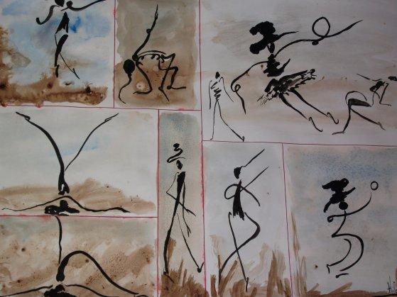 """Mouvement libre ou le dessin automatique """"d'après la méthode du peintre poète HENRI MICHAUX"""""""