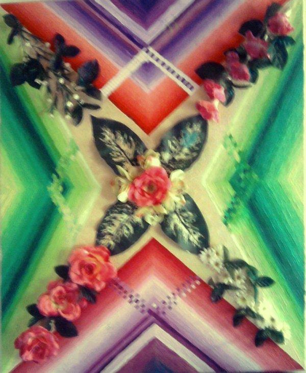 """""""ROSE DES VENTS""""Tableaux RADIONIQUES DES FORMES ET COULEURS  huile sur toile, 60 sur 50 cm.,EN RELIEFS ET VERNIS. COLLECTION ACQUERIR."""