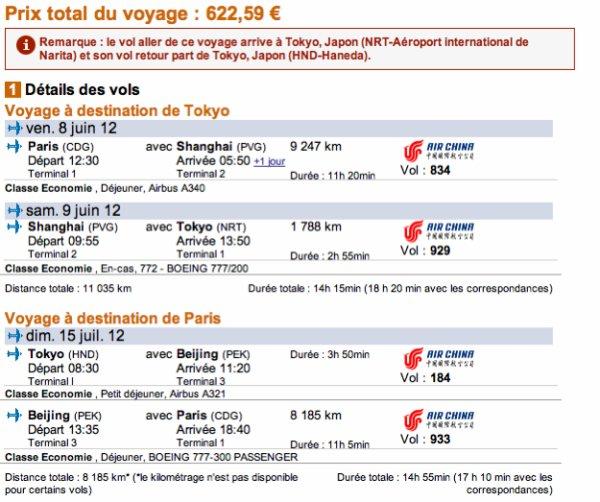 Trouver un Billet d'Avion pour le Japon