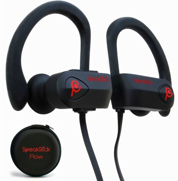 SpeakStick Flow Waterproof Bluetooth Headphones For Sport (Red)