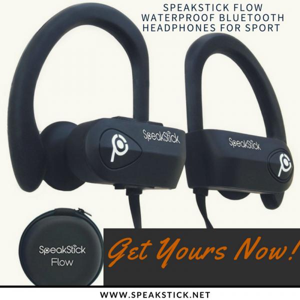SpeakStick Flow Waterproof Bluetooth Headphones For Sport (White)