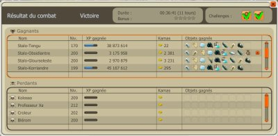 Kolosso 180% de challenge et avancement de la panoplie de l'eni.