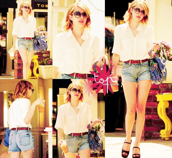 """Premier TOP/BOF/FLOP de Mai ! Cette fois-ci retour à un TOP 'street' ! Emma Roberts porte une chemise blanche, un short en jean bleu et des chaussures à talons noir, tous ce qu'il y a de plus simple, pourtant j'adore ! Ses lunettes de soleil donne du motif à la tenue, le sac bleu donne un touche de couleur, bref, j'aime beaucoup ! Et puis le soleil commence a montrer son visage, alors, un short, c'est idéal, non ?! Que dire de plus ? Ah oui! Elle est radieuse ~ Je vais vous gâter pour cet fin de mois car je prévois un """"Evènement au TOP""""...mais sur quoi ? :o haha vous verrez :3 ! Une critique du mois, bah oui, quand je dis """"mois"""" c'est pour chaque mois ! Et probablement un second TOP/BOF/FLOP ! :D Je profite pour ajouter, que, je ferai probablement un article ou une nouvelle version au début du mois de Juin -si j'ai pas la flemme x)- mais après, peu d'activités, pour causes d'examen ! Cependant après le 26 je serais de nouveau présente, et toute l'été d'ailleurs 8D !! Sur ce, je vous laisse me dire votre avis sur ce TOP avec un air de Hot Summer des f(x) ~"""