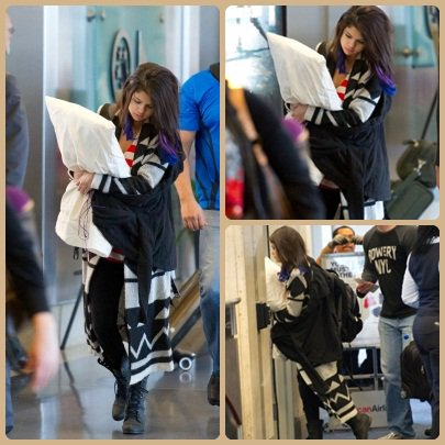 Selena à l'aéroport à LAX Airport.