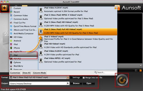 Convert MXF to MP4/M4V for iPad/Apple TV playback
