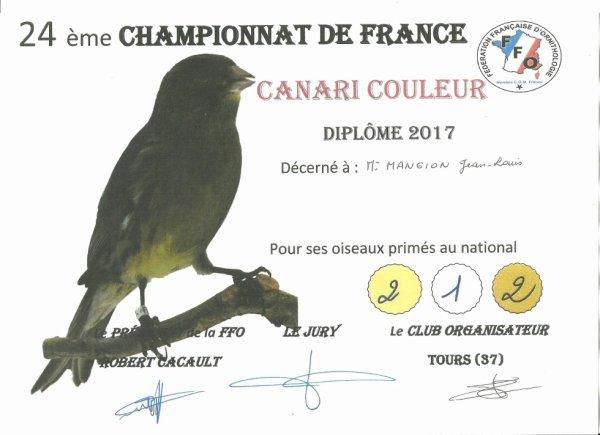 CHAMPION DE FRANCE 2017 en individuel blc rec 93 pts et en stam 93/92/91/90 pts
