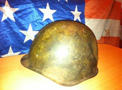 casque russe seconde guerre depouillier de son interieur reste les fixations a linterieur dommage :s