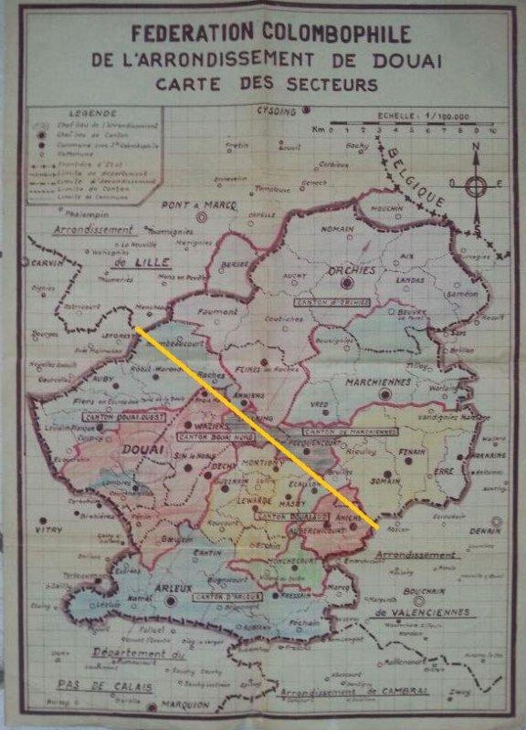 Carte historique de  l'arrondissement de Douai