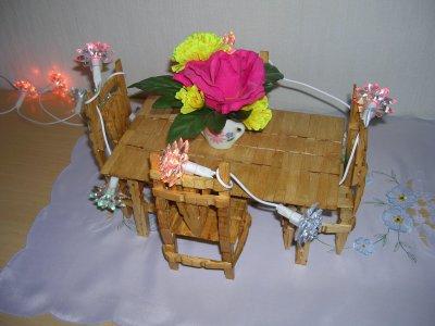 table et ses 4 chaises en pinces linge mimi66720. Black Bedroom Furniture Sets. Home Design Ideas