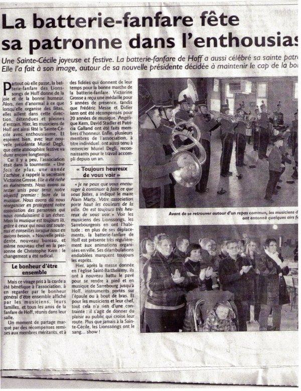 Sainte Cécile 2012, les Lionssongs (article de journal)