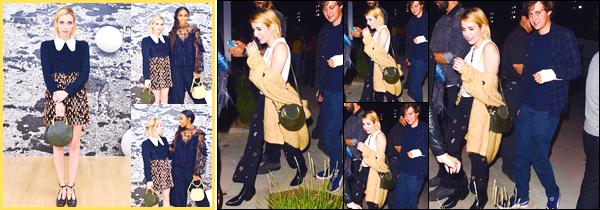 - '-19/09/17-' ◘Notre belle actrice était présente lors duChloe x MOCA Dinner, qui se déroulait à Los Angeles. Le 21/09/17 Emma Roberts s'est rendue au concert du célèbre chanteur Harry Styles, le show se déroulait à Los Angeles. C'est un TOP. -
