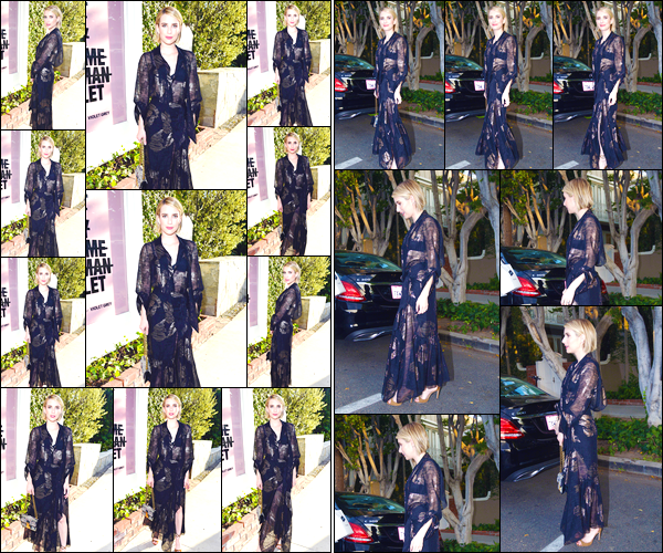 - '-11/07/18-' ◘Emma Roberts était présente à la Violet Grey party qui se déroulait à Los Angeles en Californie. Notre jolie starlette était vêtue d'une robe longue de couleur noire et argentée. J'accorde un magnifique top à notre starlette américaine. -