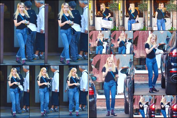 - '-09/11/17-' ◘Pour commencer la journée Emma a été photographiée alors qu'elle quittait un restaurant, LA. Par la suite notre belle blonde a été vue dans les rues de Studio City où elle y faisait du shopping. Côté tenue j'accorde un petit BOF ! -