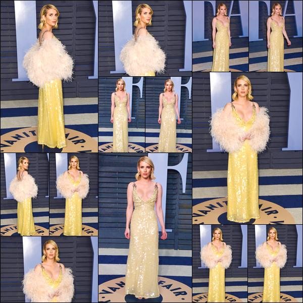 - '-04/03/18-' ◘Notre starlette s'est rendue à la cérémonie desVanity Fair Oscar qui se déroulait à Beverly Hills. C'est dans une ravissante robe couleur jaune poussin que nous retrouvons Emma lors de cet événement. J'accorde un magnifique TOP ! -
