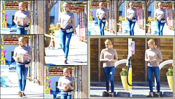 - '-20/02/18-' ◘Notre superbe actrice a été photographiée alors qu'elle quittaitAlfred Coffee, dans Los Angeles. De retour de son voyage à Londres, on retrouve aujourd'hui notre petite blonde pour une sortie plutôt tranquille. J'accorde un joli TOP ! -