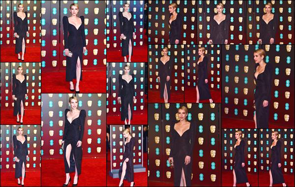 - '-18/02/18-' ◘Emma Roberts était présente à la cérémonie des71st British Academy Film Awards, à Londres ! C'est très élégante que nous retrouvons notre starlette lors de cet événement. Pour ma part c'est un très beau top elle est MAGNIFIQUE. -