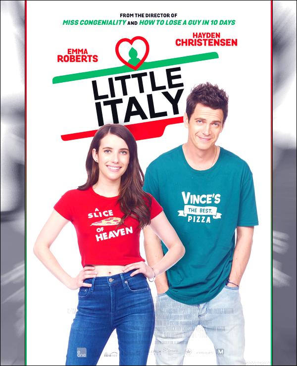 ▬ Voici un tout nouveau poster d'Emma pour le film Little Italy, aux côtés de sa co-star HC !