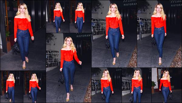 - '-06/11/17-' ◘Emma Roberts a été aperçue alors qu'elle quittait le restaurant Madeo, dans West Hollywood. En effet notre blondinette a été vue à la sortie de ce célèbre restaurant italien. Côté tenue, j'accorde un joli TOP ! Quel est ton avis ? -