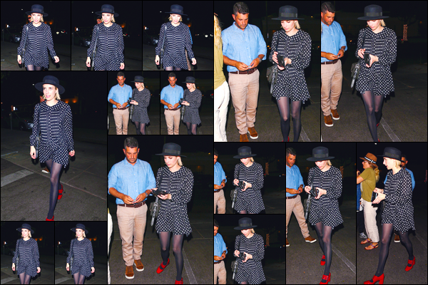 - '-12/07/18-' ◘Notre starlette a été photographiée alors qu'elle quittait le restaurant Matsuhisa, Beverly Hills. C'est dans une charmante petite robe noire à pois blanc accompagnée de chaussure vive rouge que nous retrouvons notre starlette, top. -