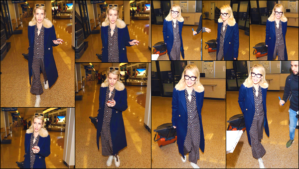 - '-18/01/18-' ◘Emma Robert a été photographiée alors qu'elle arrivait à un aéroport situé à Salt Lake, (Utah). C'est en compagnie de son cher petit ami : Evan Peters que notre actrice a été photographiée alors qu'elle arrivait à l'aéroport. Un flop ! -