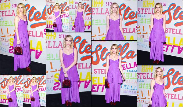 - '-16/01/18-' ◘Notre Emma Robert était présente au : «Stella McCartney Show » qui se déroulait à Hollywood. C'est dans une robe violette que nous retrouvons notre Em', cette fois-ci sans sa perruque ! Pour ce look, je suis mitigée, je donne un bof. -