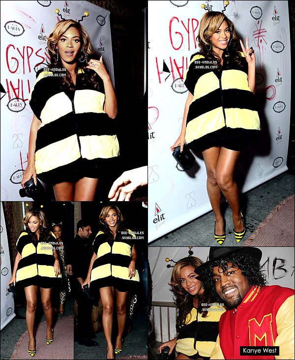 31/10/11 Beyoncé déguisée en abeille à la fête spéciale halloween organisée par son ami Kanye West. C'est pas pour rien qu'on la surnomme Queen Bee (reine des abeilles). Comment la trouvez-vous ?