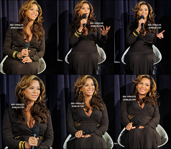 "20/11/11:  Beyoncé rayonnante à la projection de son nouveau DVD, ""Live at Roseland: Eléments of 4""  ____________ au Théâtre de Paris à New York. Elle a donnée une petite interview pour ses fans présents."