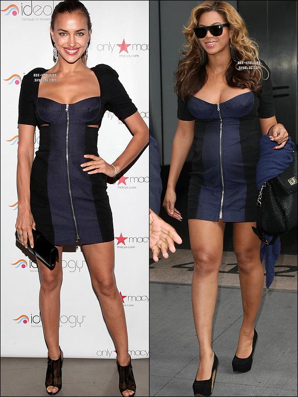 Irina Shayk et Beyoncé ont craqué pour la même robe bustier « Carven ».