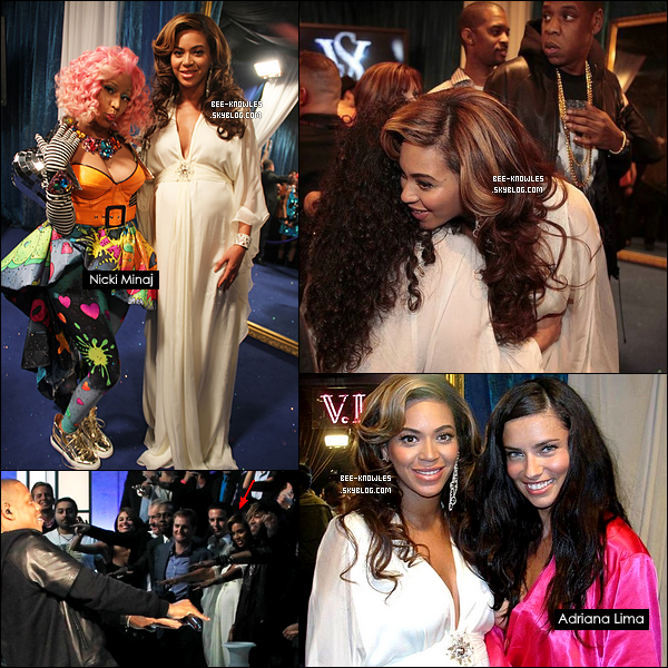 12/11/11: Beyoncé au défilé de Victoria Secret où son mari Jay Z et leur ami Kanye West ont performé.