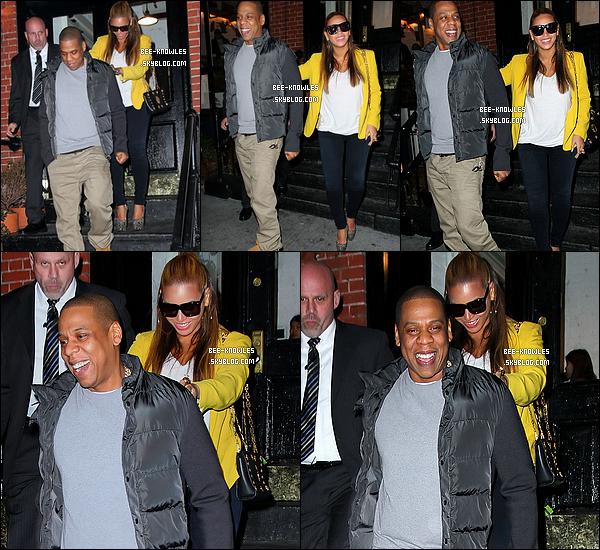 20/02/12 : Jayoncé se sont rendus à un match de basket qui opposait les New York Knicks face aux New Jersey Nets à Madison Square Garden. Les deux tourteraux sont ensuite allés diner au resto' « Redfarm » à New-York.   + News : Ryan Tedder a déclaré lors d'une récente conférence de presse que Beyoncé travaillait sur deux projets. Il a affirmé le travail de Beyoncé sera biensûr inspiré de Blue Ivy. « Des discussions sur son nouvel album viennent d'avoir lieu... » dit-il.