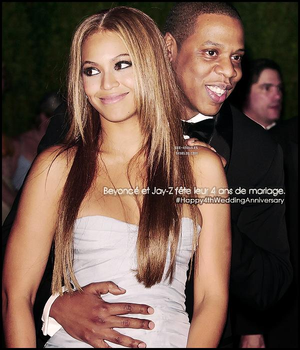 """IL Y A 4 ANS AUJOURD'HUI, BEYONCE ET JAY-Z S'ETAIENT DIT """"OUI !"""".  Le 4 avril 2008, l'un des couples les plus glamour s'était unis pour le meilleur et pour le pire. Cette date symbolique marquant les jours de naissance respectifs du couple, Beyoncé étant née le 4 septembre et Jay-Z le 4 décembre marque aussi le jour de leur mariage qui a été célébré le 04/04/2008. Beyoncé et Jay-Z sont en couple depuis maintenant 10 ans. Aujourd'hui c'est un couple totalement comblé puisqu'en effet un nouveau membre dans la famille Carter a fait son entrée: la petite princesse Blue Ivy, née de 7 Janvier 2012. Que pouvons nous leur souhaiter de plus ? Et bien que leur bonheur dur le plus longtemps possible.    Joyeux anniversaire Jayoncé ! Texte rédigé par la webmiss, créditez en cas d'emprunt."""