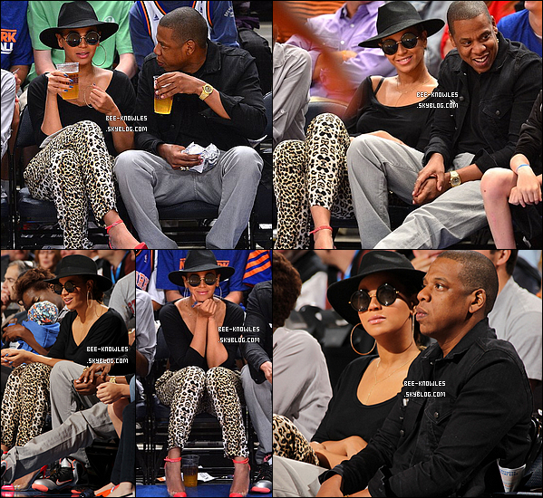 15/04/2012 : Journée entre amoureux pour Beyoncé et Jay-Z qui sont allés voir un match de basketball au 15/042012 :Madison Square Garden. Ils se sont ensuite rendus au restaurant « Bar Pitti » à New York.