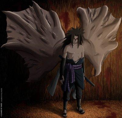 Sasuke avec sa marque maudite !