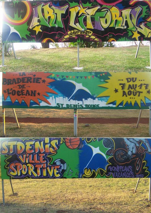 """projet """"art littoral """" panneaux realisés pour la mairie de stdenis"""