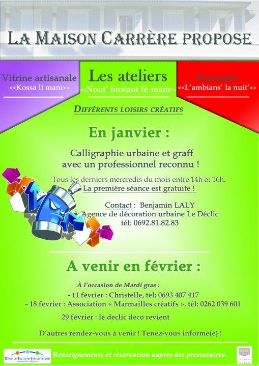 ATELIER GRAFF A LA MAISON CARRERE  RUE de PARIS à st denis  , la première sceance est gratuite!!!