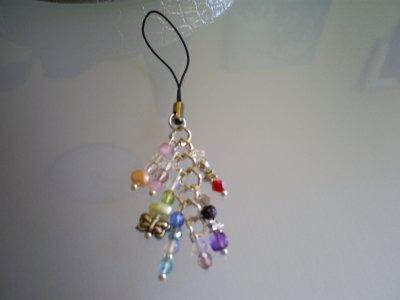 bijou de sac ou de téléphone portable perles en nacre,métal;oeil de chat rose,cristal de bohème multicolore