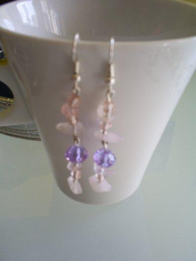 boucles d'oreilles en quartz rose et perles lilas en cristal de boheme
